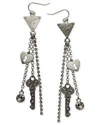 Guess   Metallic Rhodium-tone Triangle Logo Chain Drop Earrings   Lyst