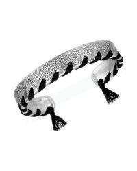 The Sak - Black Silvertone Threadstitched Batik Cuff Bracelet - Lyst