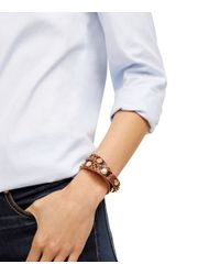 Tory Burch - Brown Double-wrap Logo Stud Bracelet - Lyst