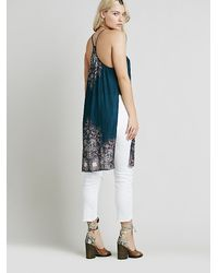 Free People | Blue Womens Border Print Maxi With Slits | Lyst
