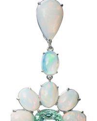 Nina Runsdorf - Blue 18K White Gold Opal And Paraiba Tourmaline Earrings With Diamond Rose Cuts - Lyst