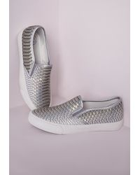 Missguided - Multicolor Slip On Pumps Metallic Snake Print - Lyst
