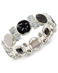 Anne Klein | Silver-tone Black And White Stone Stretch Bracelet | Lyst