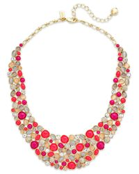 kate spade new york | Multicolor Gold-Tone Pink Stone And Faux Pearl Bib Necklace | Lyst