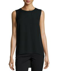 Elie Tahari - Black Ann Sleeveless Pleated-back Blouse - Lyst