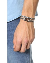 Cause and Effect - Black 2 Tone Leather Double Wrap Bracelet for Men - Lyst