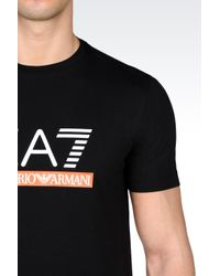 EA7 | Black T-shirt In Stretch Cotton Jersey for Men | Lyst