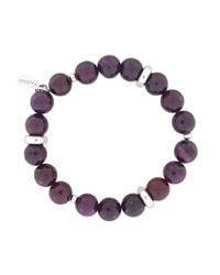Azendi - Purple Ruby Agate Stretch Bracelet - Lyst