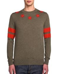 Givenchy | Green Stars & Stripes Embellished Sweater for Men | Lyst