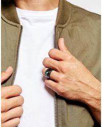 ASOS - Metallic Signet Ring In Gunmetal for Men - Lyst