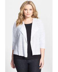 Eileen Fisher - Metallic Drape Front Organic Linen Sweater Jacket - Lyst