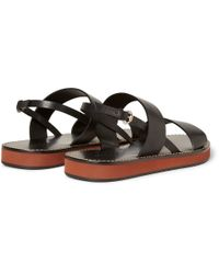 Gucci   Black Strapped Leather Sandals for Men   Lyst