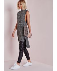 Missguided - Gray Sleeveless Funnel Neck Tunic Grey - Lyst