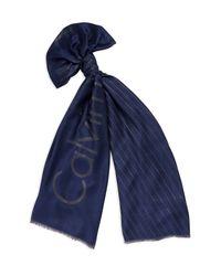 Calvin Klein - Blue White Label Stripe Logo Scarf - Lyst