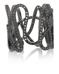 Repossi | White Noise 18-karat Black Gold-washed Diamond Ring | Lyst