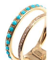 Nikos Koulis - Metallic Diamond Turquoise Gold Ring - Lyst