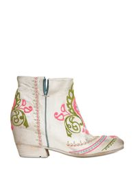 Strategia White 80Mm Embroidered Calf Low Boots