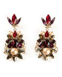 Anton Heunis - Brown Crystal Cluster Drop Earrings - Lyst