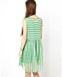 Traffic People | Green Anchors And Stipes Silk Two Sided Dress | Lyst