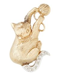 Kojis | Metallic Yellow Gold Diamond Set Cat Brooch | Lyst