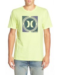 Hurley Yellow 'Crop Circle' T-Shirt for men