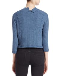 Free People | Blue Cropped Mock-neck Sweater | Lyst