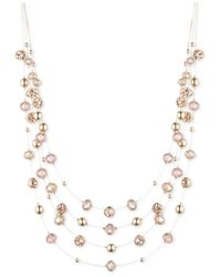 Nine West | Metallic Gold-tone Champagne Bead Illusion Necklace | Lyst