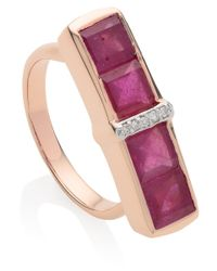 Monica Vinader - Pink Rose Gold Vermeil Ruby Diamond Baja Precious Ring - Lyst