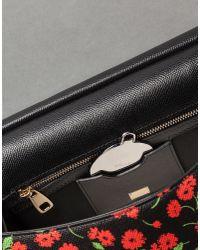 Dolce   Gabbana. Women s Black Flower Print Dauphine Calfskin Medium Sicily  Bag 3e8256de13