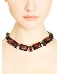 Oscar de la Renta - Purple Bordeaux Swarovski Crystal Octagon Necklace - Lyst