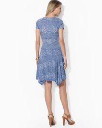 Ralph Lauren | Blue Cotton Fit and Flare Dress | Lyst