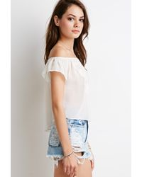 Forever 21 - Natural Embroidered Chiffon Off-the-shoulder Top - Lyst