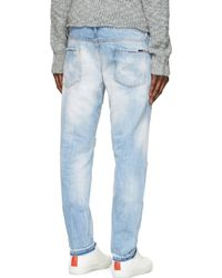 DSquared² - Blue Bleached And Distressed Slim Jeans for Men - Lyst