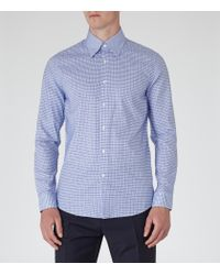 Reiss - Blue Freddy Geometric Print Shirt for Men - Lyst
