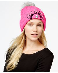 Betsey Johnson | Pink Jeweled Beanie | Lyst