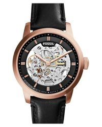 Fossil | Pink 'townsman' Automatic Leather Strap Watch | Lyst