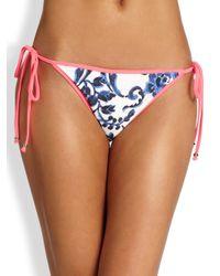 MILLY | Blue Biarritz Delft-Print String Bikini Bottom | Lyst