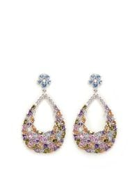 CZ by Kenneth Jay Lane - Multicolor Cubic Zirconia Floral Teardrop Earrings - Lyst