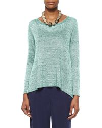 Eileen Fisher | Green Scoop-Neck Linen Top | Lyst