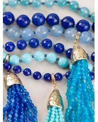 Rosantica - Blue Beaded Tassel Choker Necklace - Lyst