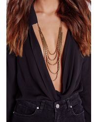 Missguided | Metallic Layered Delicate Statement Necklace Gold | Lyst
