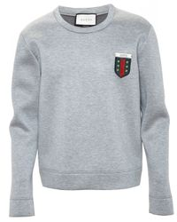 Gucci | Gray Crest Logo Sweatshirt for Men | Lyst