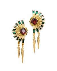 Elizabeth Cole - Metallic Crystal Statement Earrings - Turquoise/Howlite/Gold - Lyst