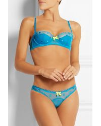 L'Agent by Agent Provocateur - Blue Aniya Embroidered Tulle Balconette Bra - Lyst