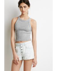Forever 21 | Blue Button Fly Denim Shorts | Lyst