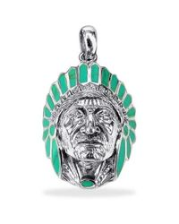 Aeravida | Native American Indian Chief Green Tq .925 Silver Pendant | Lyst
