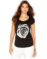 Lucky Brand | Black Cap-sleeve Rose-print Tee | Lyst