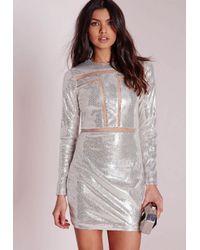 Missguided | Metallic Mesh Insert Sequin Bodycon Dress Silver | Lyst