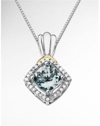 Lord & Taylor | Blue Aqua Pendant In Sterling Silver With 14 Kt. Yellow Gold | Lyst
