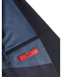 HUGO - Blue Single Breasted Tonal Check Solid Suit for Men - Lyst